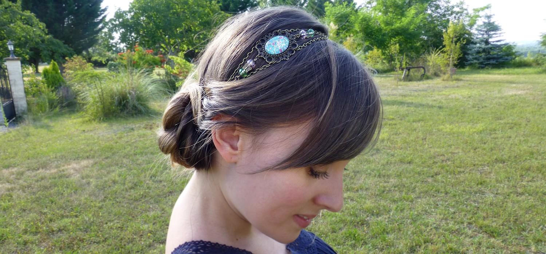 Bandeau à cheveux rétro vert menthe et rose